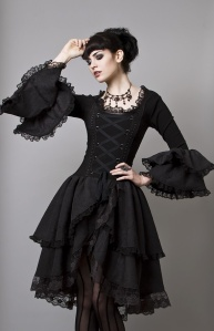 one of the main characters dresses in gothic lolita inspired clothes